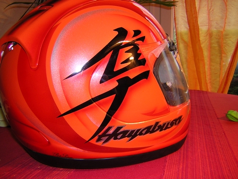 peinture casque aerographe arai shoei  hayabusa candy orange dax landes